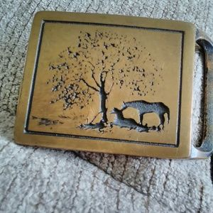 """Vintage Tech-Ether Guild """"Two Horses"""" Brass Buckle"""